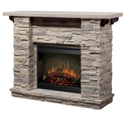 Stone electric fireplace and Fireplace mantel