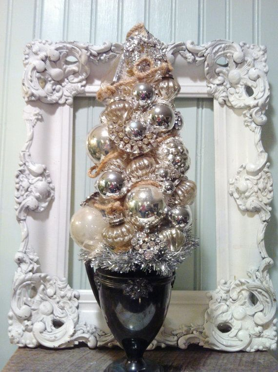 Vintage Bottle Brush Tree in Silver Plated by pinkpixieforest