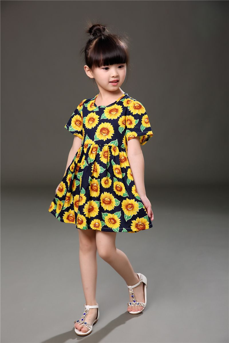 18c9aa7b4ce5 Girls dress for 3-7 years old baby clothes 2017 summer new style cotton sky  blue sunflower fashion princess cheap dresses kids