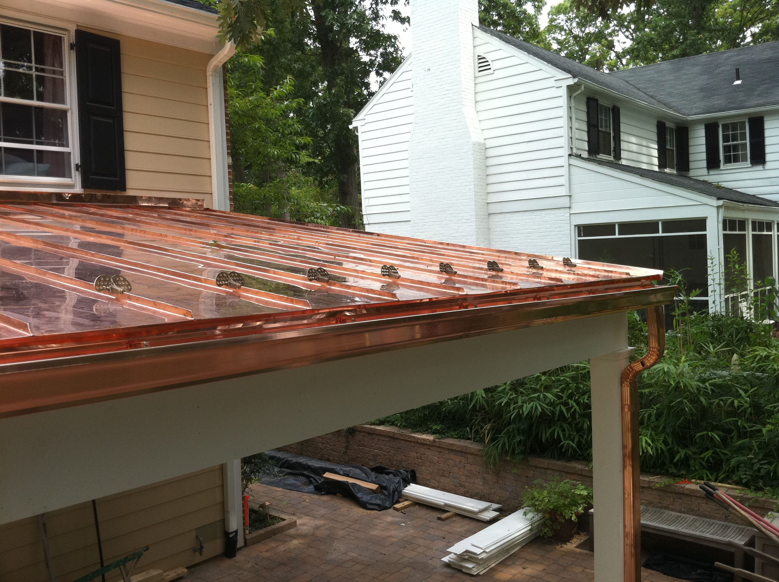 This Has Gutter But The Design Is Just Like The House Standing Seam Copper Roof Alexandria Va Copper Roof Copper Roof Porch Standing Seam