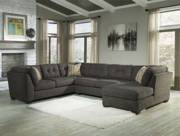 Delta City RAF Corner Chaise Sectional with Armless Loveseat in Steel