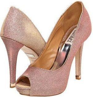 Badgley Mischka Humbie IV Rose Gold Evening Shoes $245.00 Ultra feminine  Peep toe pumps with an