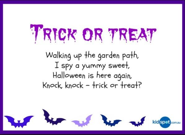 Trick Or Treat Poem Halloween Poems Halloween Poems For Kids Treat Quotes