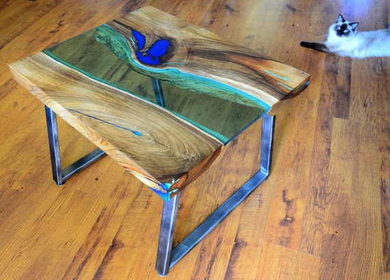 Live Edge River Coffee Table With Glowing Resin Fillin Muebles