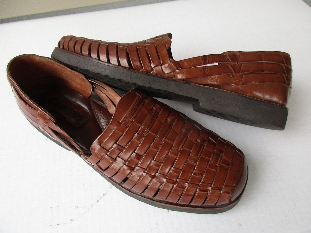 f921a5ea5e9e Sunsteps Hitachi men sandals 13 Brown Leather Hand woven  Sunsteps   Fisherman