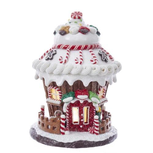 "Gingerbread House Brown Christmas LED Light Up Candy Clay-dough 7.5/"" Kurt Adler"