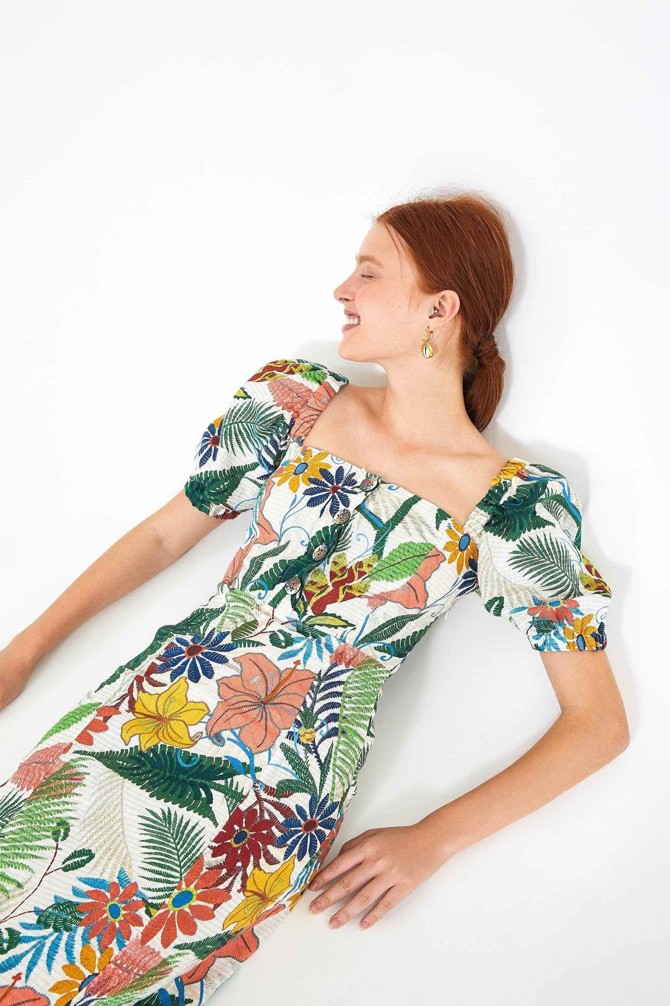 Vintage Garden Puffed Sleeves Midi Dress Farm Rio Puff Sleeve Midi Dresses Midi Dress With Sleeves White Vintage Dress
