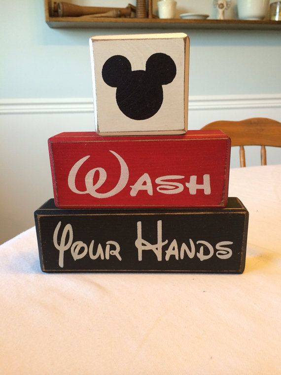 Wash your hands Mickey Minnie primitive wood sign blocks ...