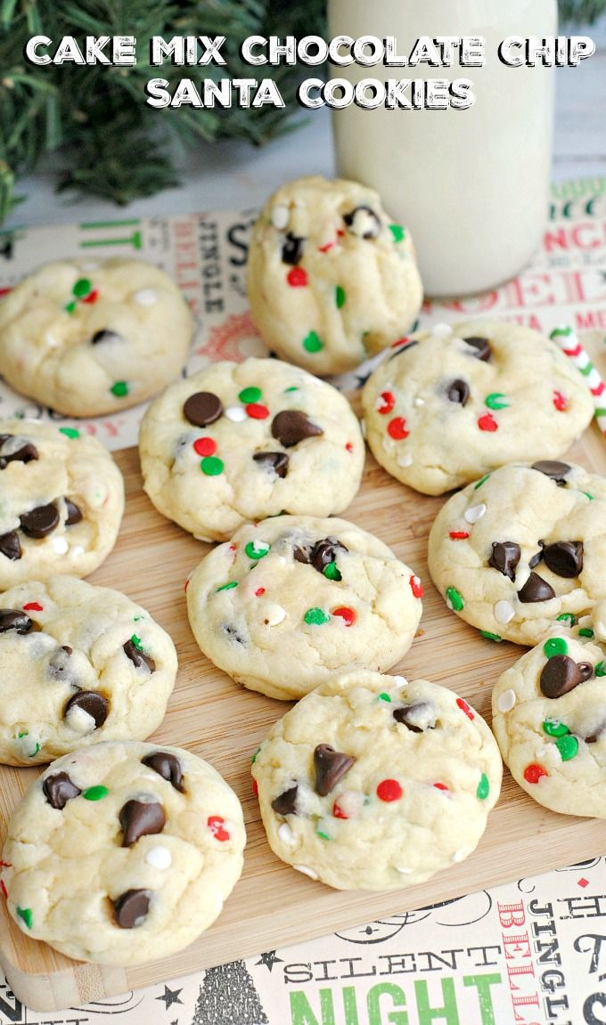 Cake Mix Chocolate Chip Santa Cookies Recipe Foods  Beverages