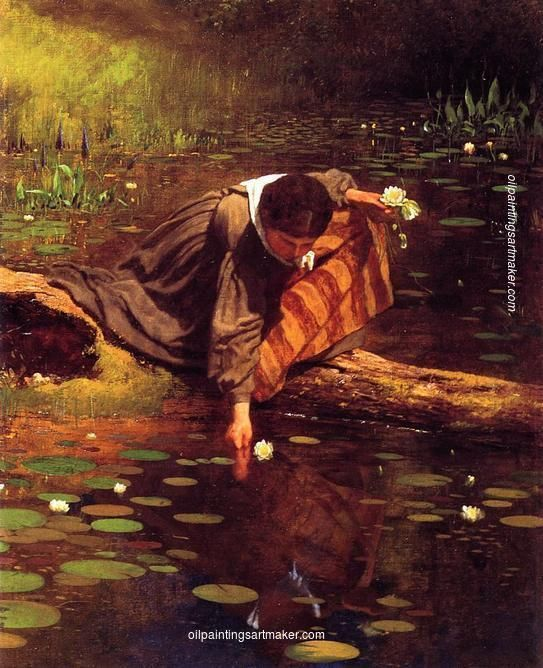 Eastman Johnson Gathering Lilies, painting Authorized official website