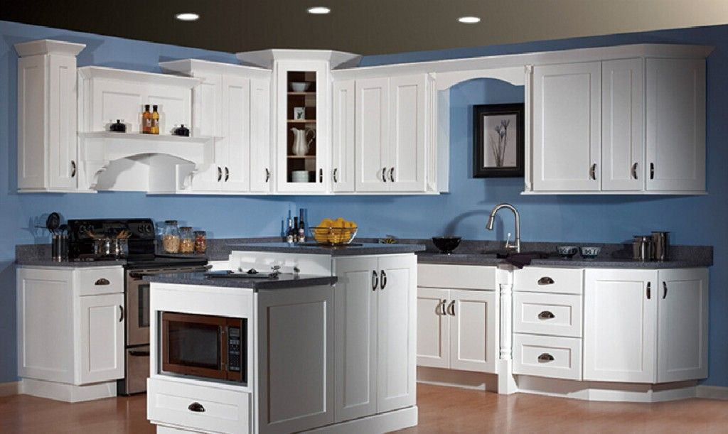 White-kitchen-cabinets-and-blue-walls