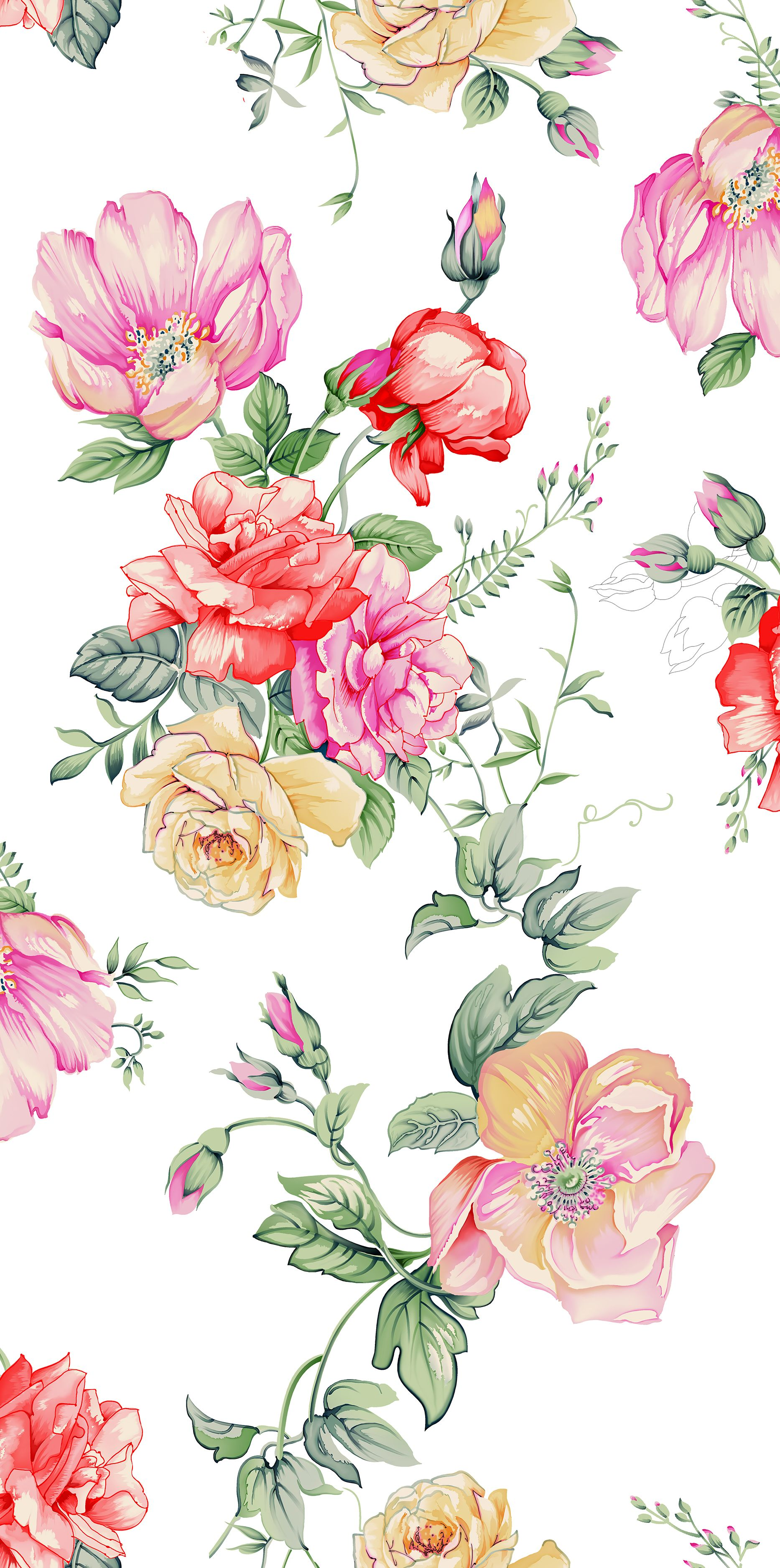 Watercolor Floral Background In 2020 White Pattern Background