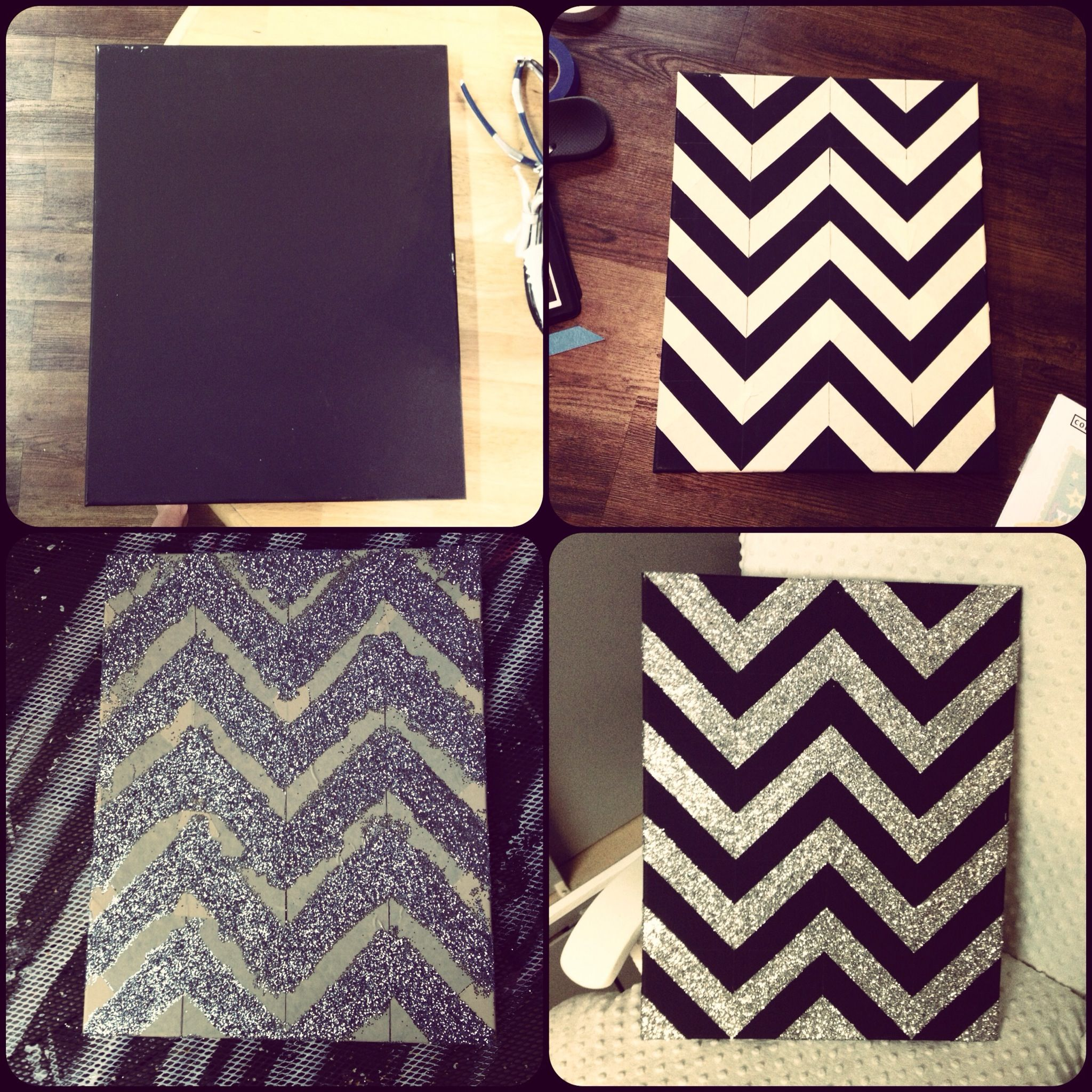 Cute Black Wall Decor : Diy canvas chevron silver glitter art cute wall decor