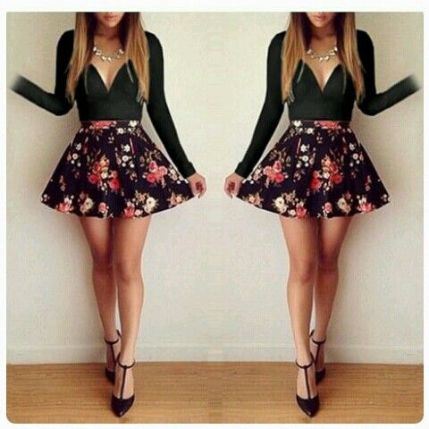 Black sleeved dress with flowers xx