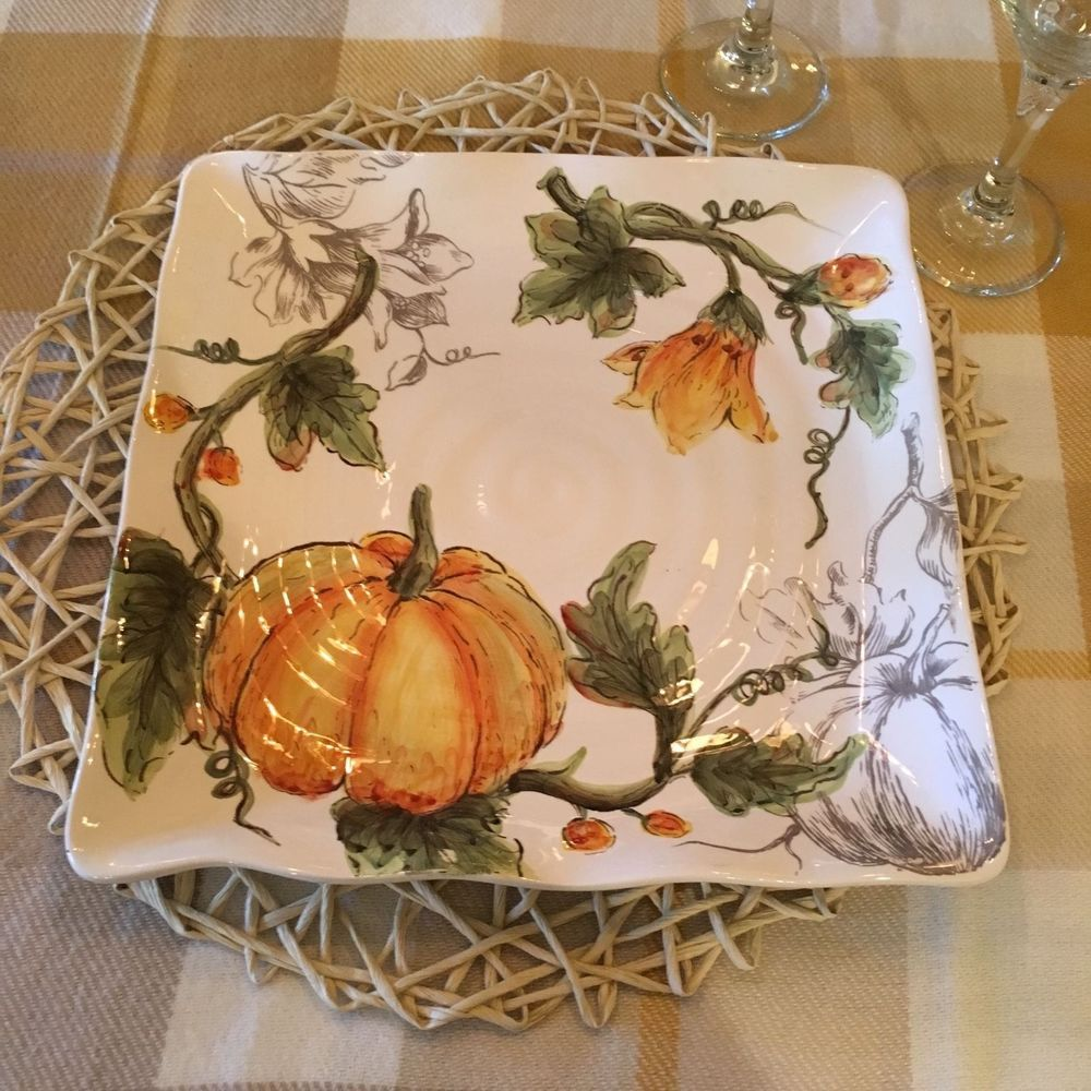 Maxcera  Pumpkin Flower  Painted Pumpkin Zucchini 11  dish/plate ... & Maxcera