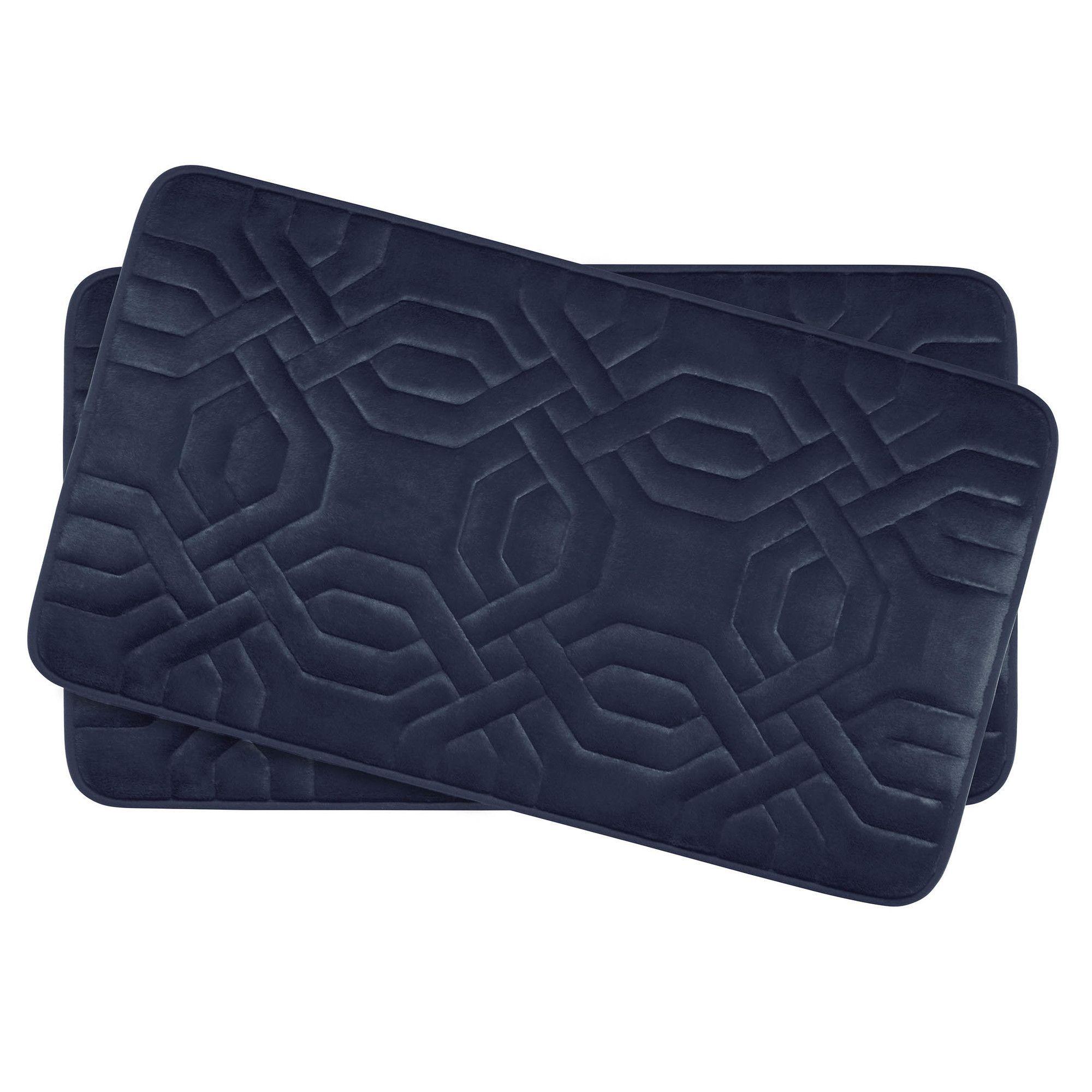 Chain Ring Small 2 Piece Premium Micro Plush Memory Foam Bath Mat Set