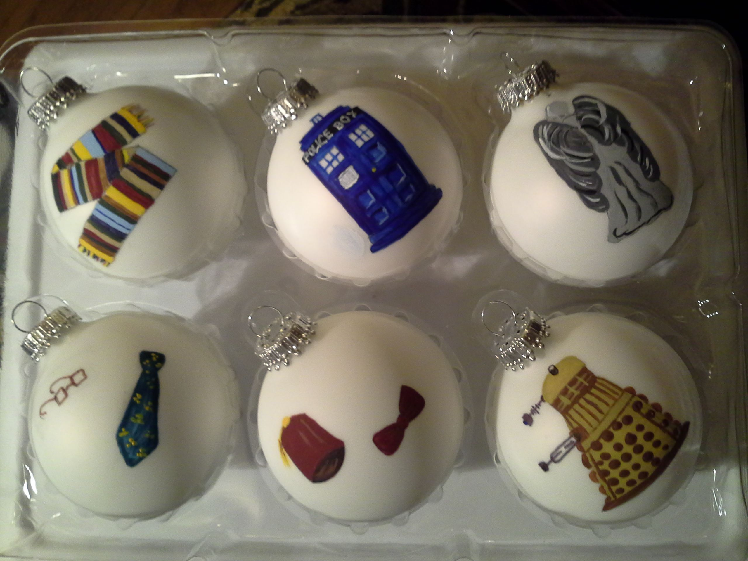 Doctor Who Christmas ornaments.
