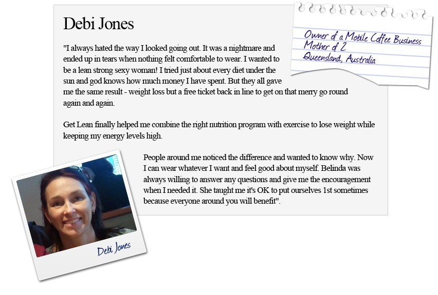 Client testimonial who bought Belinda Benn's Get Lean ...Belinda Benn