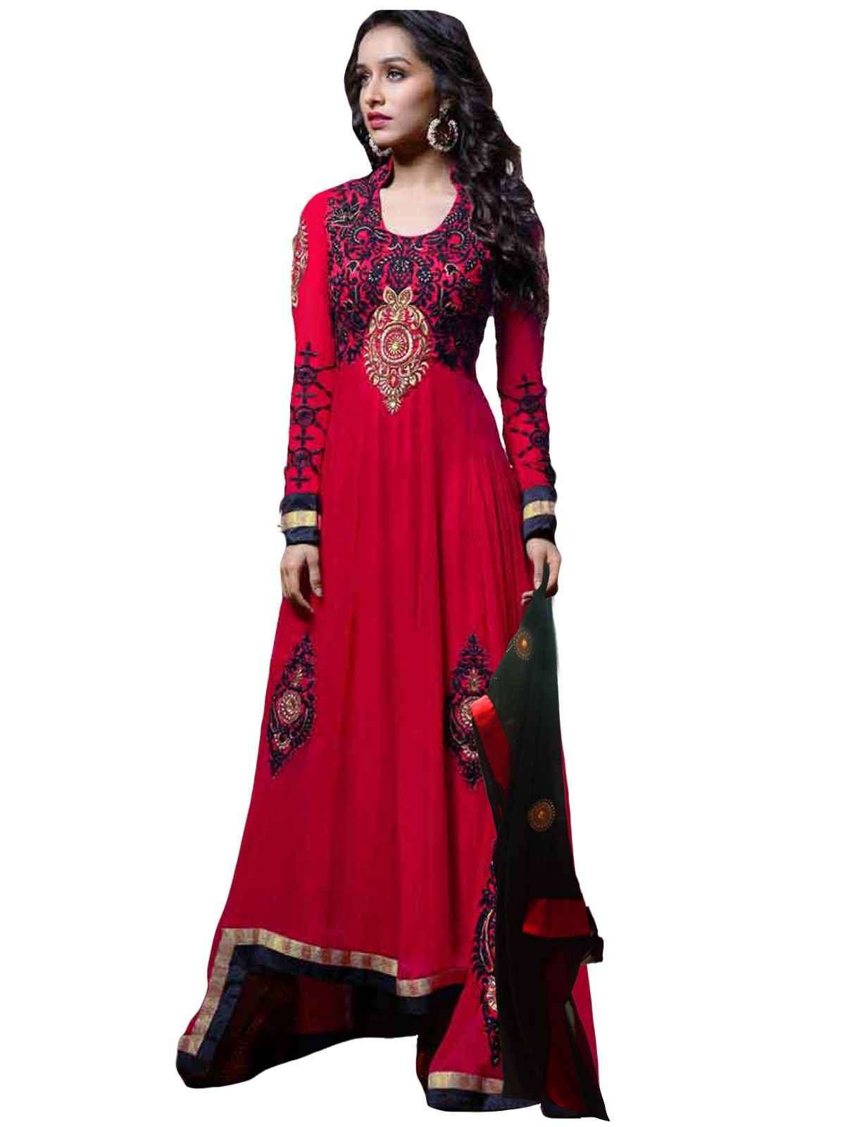 Red long anarkali suit salwar kameez pinterest long anarkali