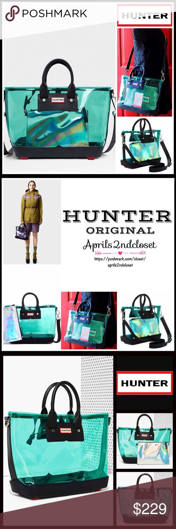 925ca3f594a HUNTER Original Clear Crossbody Tote 💟NEW WITH TAGS💟 AMAZING! HUNTER  Original Clear Midi