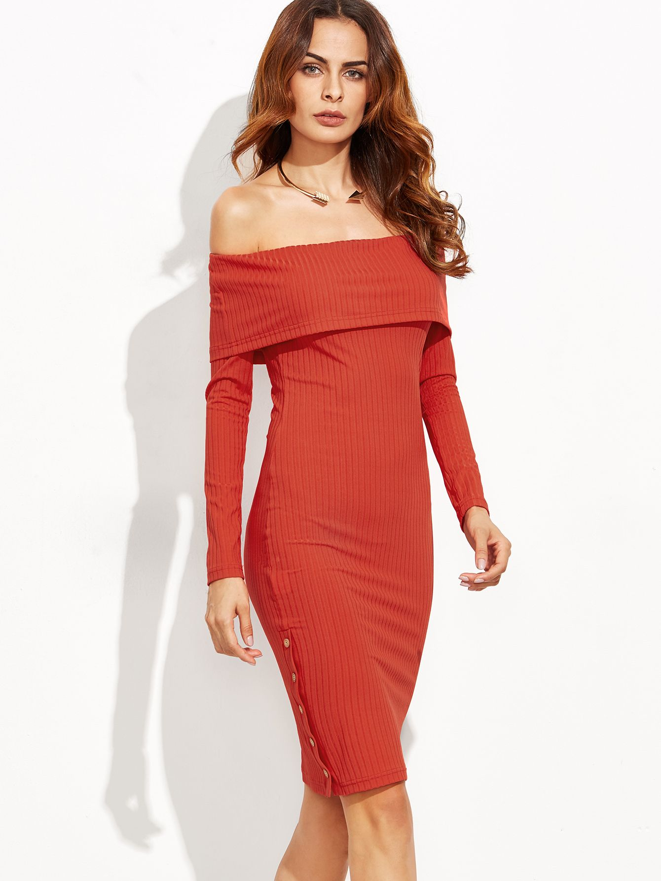 db5226151e1e Red Foldover Off The Shoulder Button Side Ribbed Dress. Red Elegant  Polyester Off the Shoulder Long Sleeve Sheath Knee Length Button Plain  Fabric is very ...