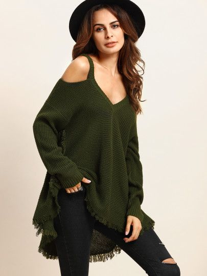 42e3ab607b789 Army Green Cold Shoulder Long Sleeve Knitted T-shirt