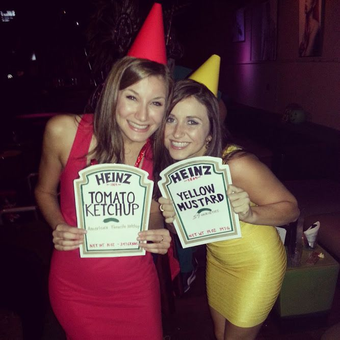 Last minute costume: Ketchup & Mustard. Party hats with top cut off/ poster board labels hung around the neck with spare ribbon!