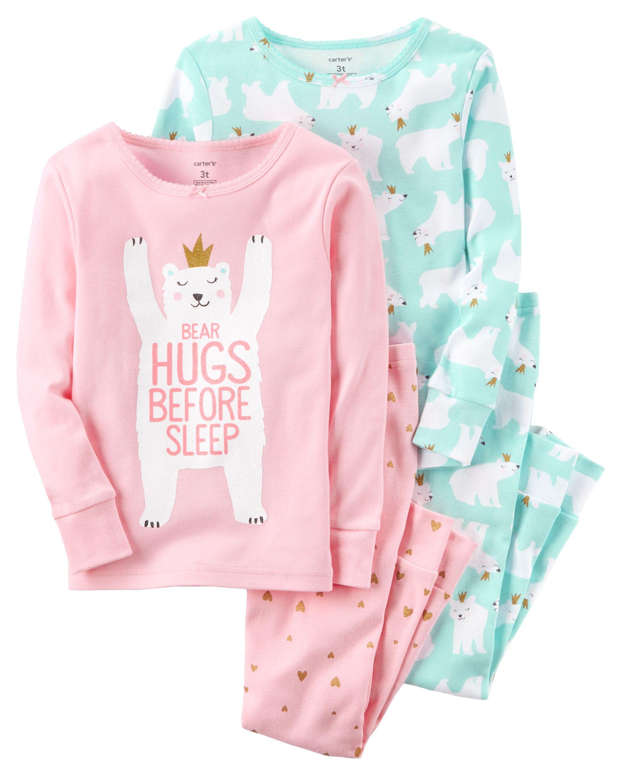 ca0af7c56 4-Piece Polar Bear Snug Fit Cotton PJs