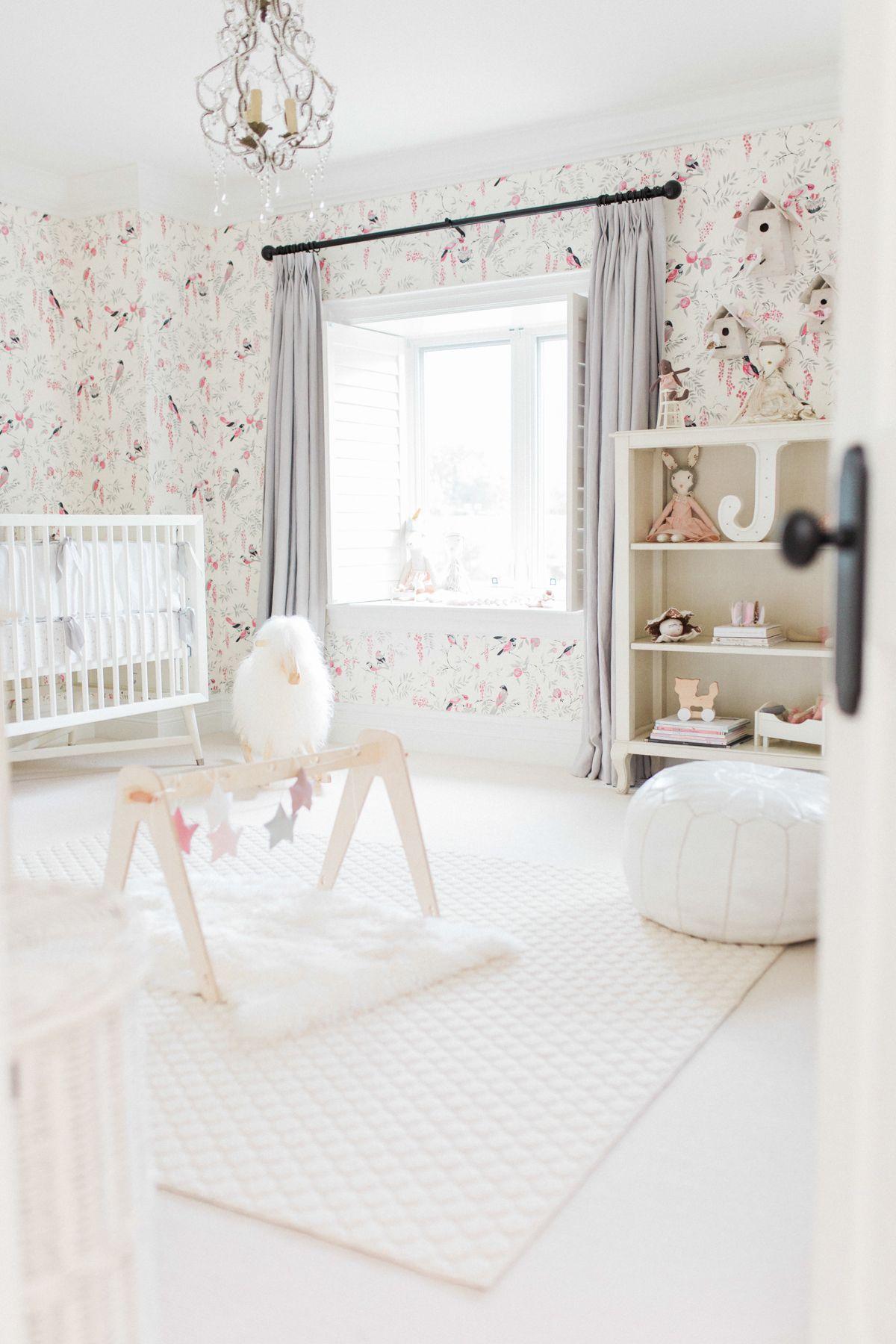Glam Vintage Bird Wallpaper Baby Girl Nursery