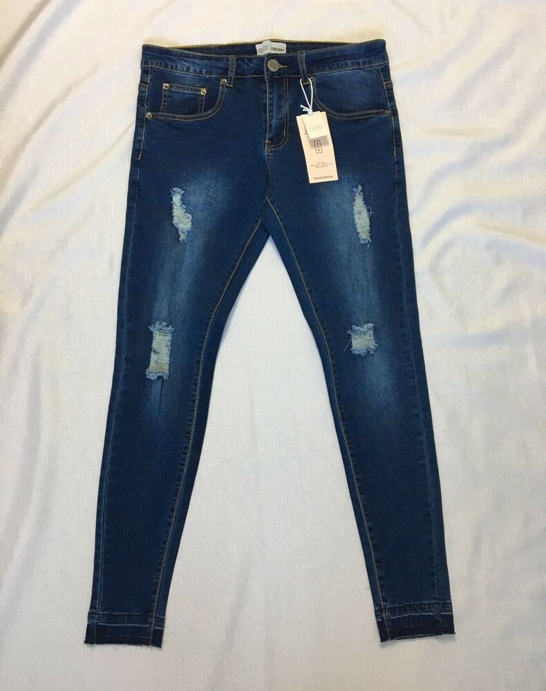 BNWT NEW MENS JEANS BLUE RIPPED RIPS BRANDED FRAYED SKINNY STRETCH WAIST SIZES