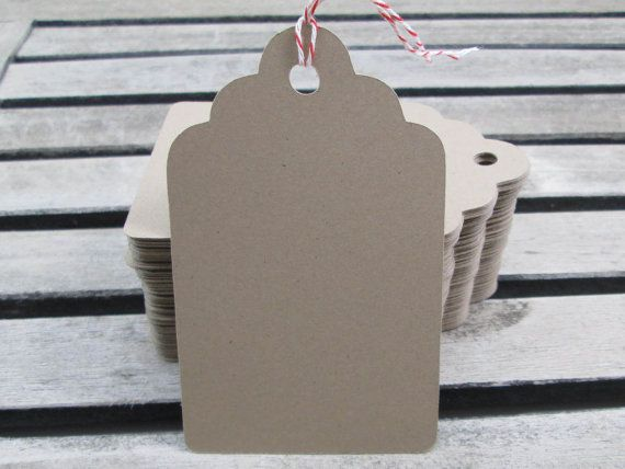 Kraft Paper Scalloped Hang Tags Kraft Tags by FiendishPaperThingy, $11.99