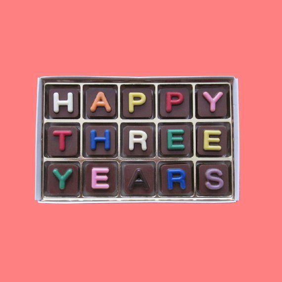 38 Year Wedding Anniversary Gift: Happy Three 3 Years Chocolate Anniversary Gift Boyfriend
