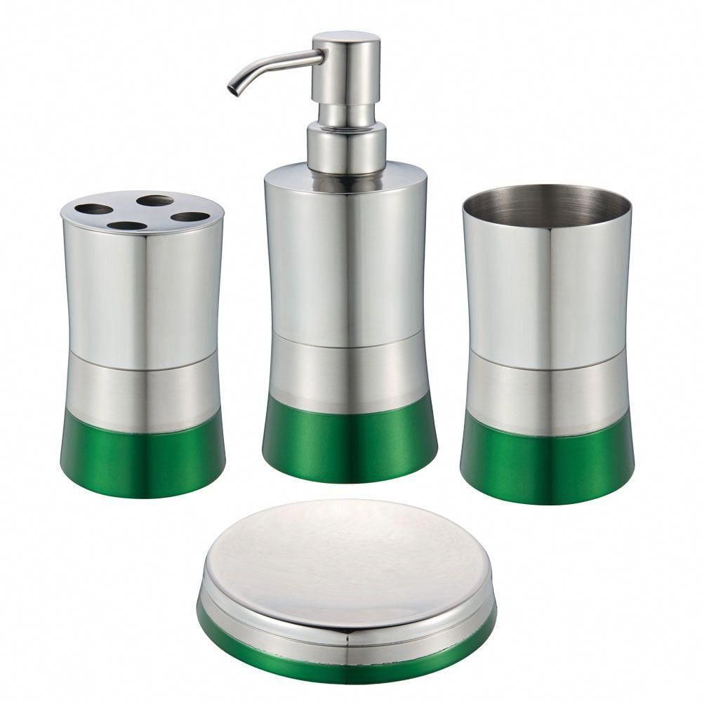 Hopeful 4 Piece Bath Accessory Set In Shiny Matte And Spray Paint