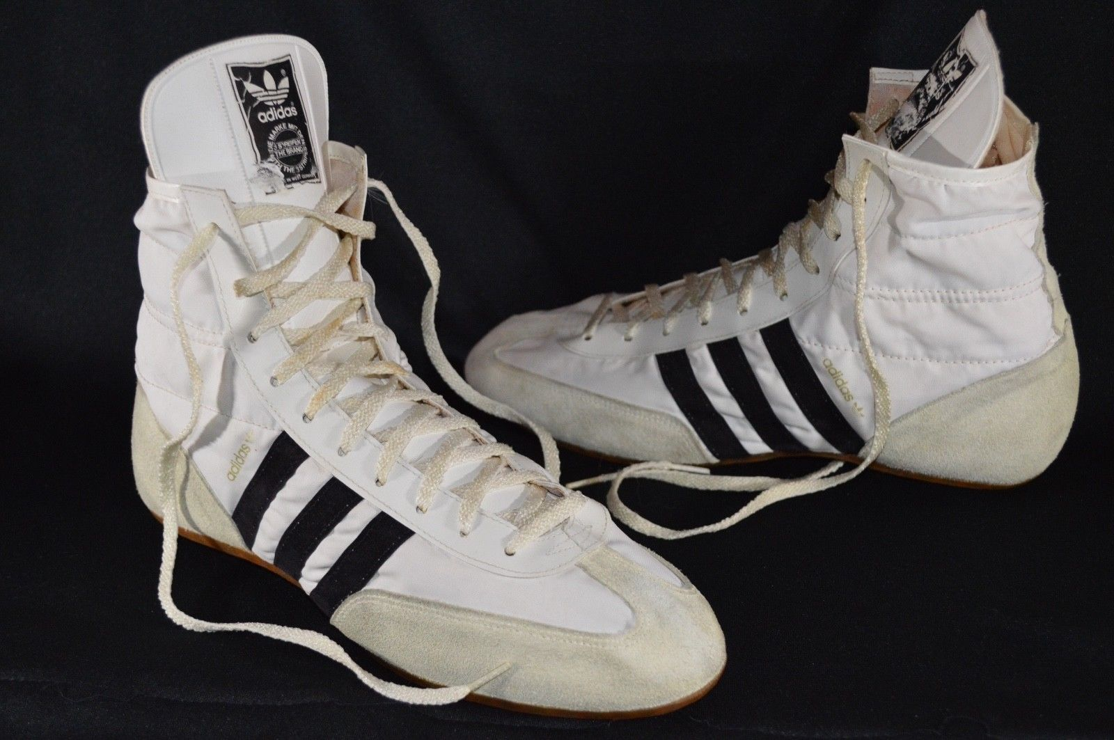 ecdab19da174 Vintage Adidas 80 s Hight Top White Boots Freddie Mercury Wrestling Shoes  Size 8