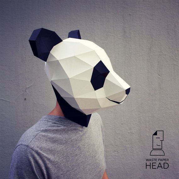 17 Papercraft Panda Mask Printable Digital Template Etsy Mascara De Animales Plantilla De Máscara Artesanía Con Papel