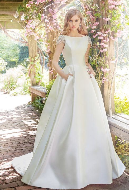 Style 9658 White Mikado Bridal Ball Gown Bateau Neckline With