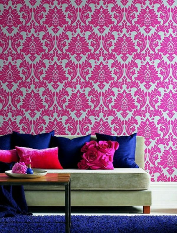 tapeten-farben-ideen-interessante-rosige-wand interiors - tapeten und farben