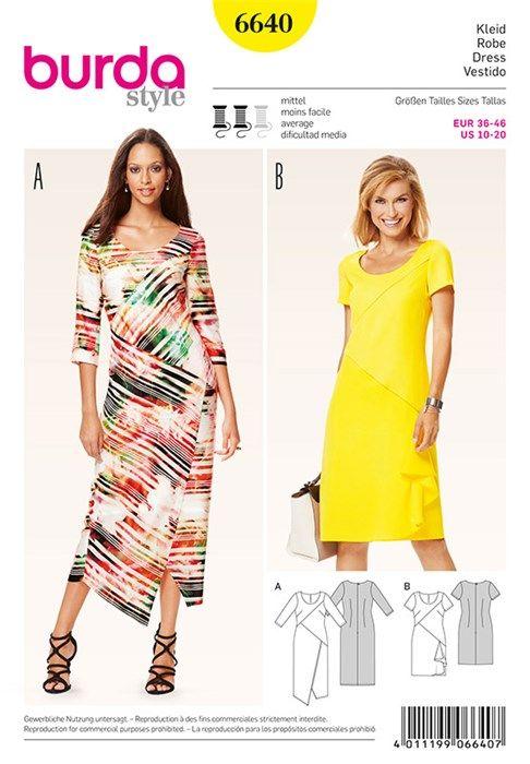 Patron de robe - Burda 6640 in 2018 | PPC - Robe droite | Pinterest ...