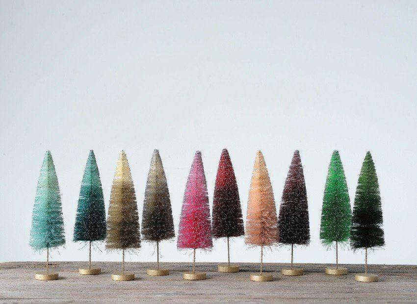 Mini Festive Bottle Brush Tree Set Of 10 Bottle Brush Christmas Trees Bottle Brush Trees Bottle Brush