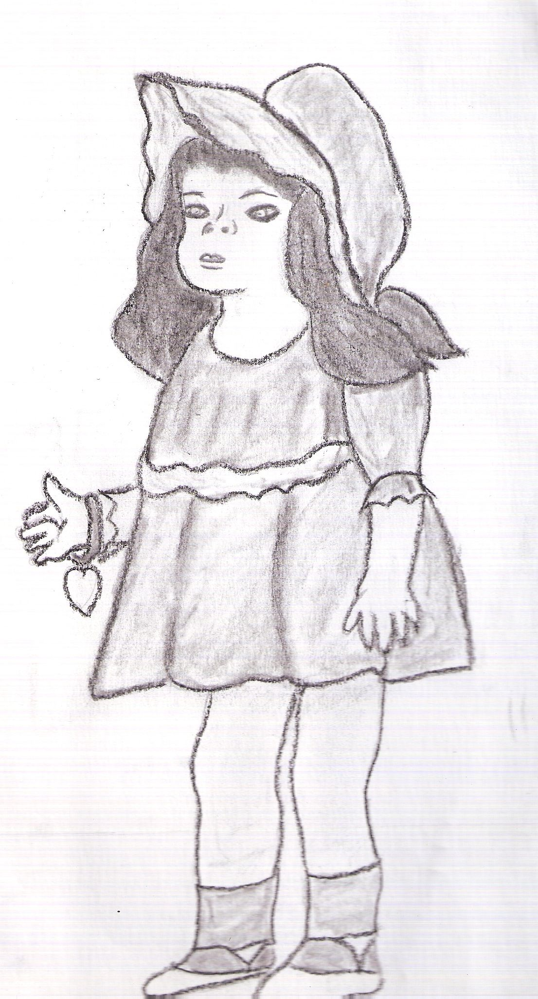 Old fashion doll pencil drawing