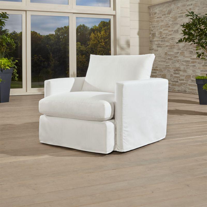 Lounge ii petite outdoor slipcovered 360 swivel chair