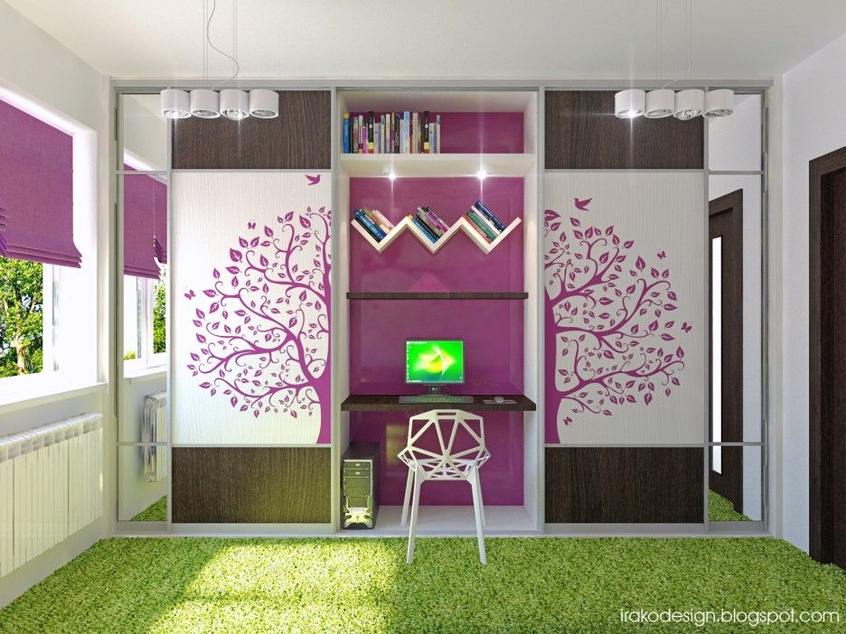 Stylish And Cute Purple Room Ideas For Teenage Girls: Purple White Green Girls  Room ~ Part 80