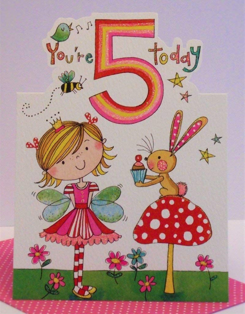 Rachel Ellen Age 5 Girl Birthday Card Amazoncouk Office Products