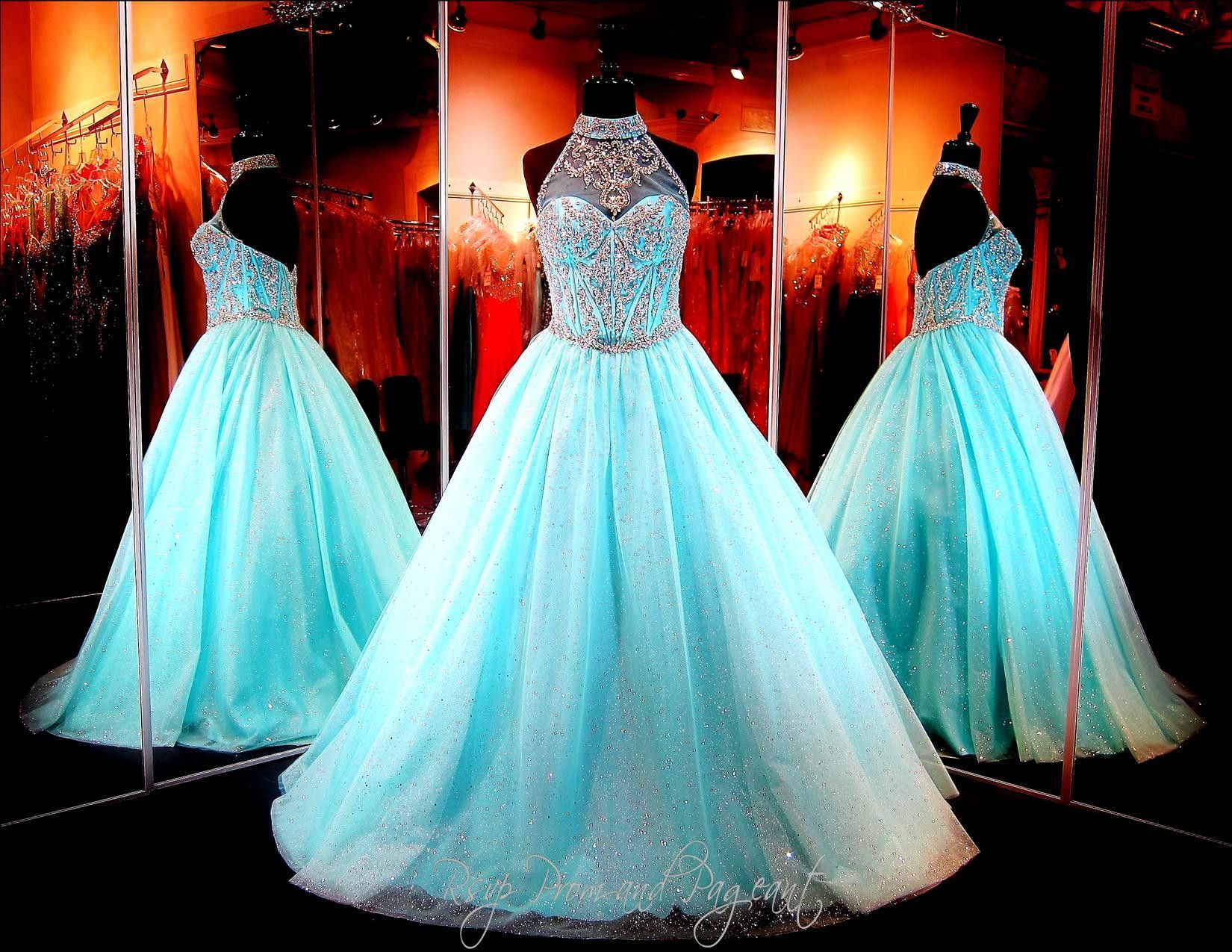 turquoise-ball-gown-beaded-high-illusion-neckline-sweetheart-bodice ...