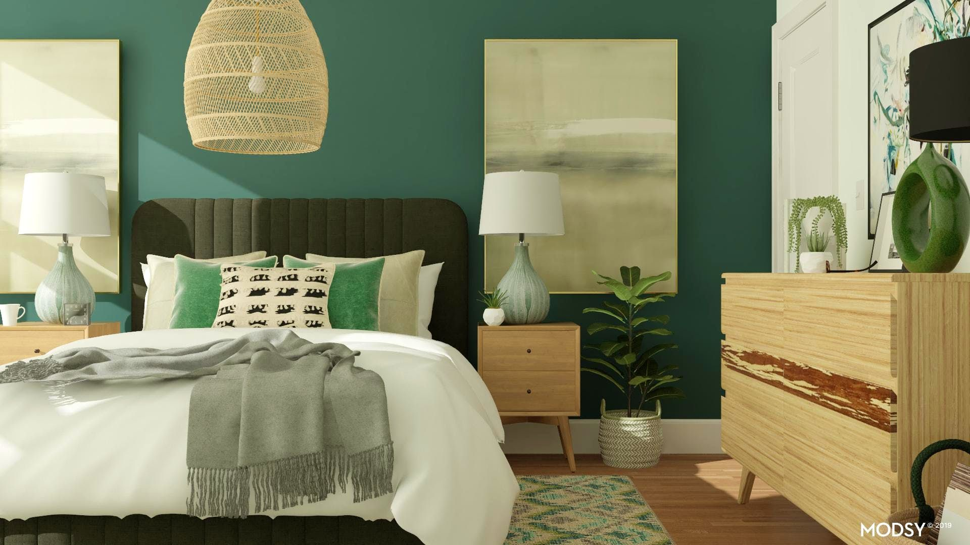 Incorporate greens in your MidCentury Modern Bedroom! Add