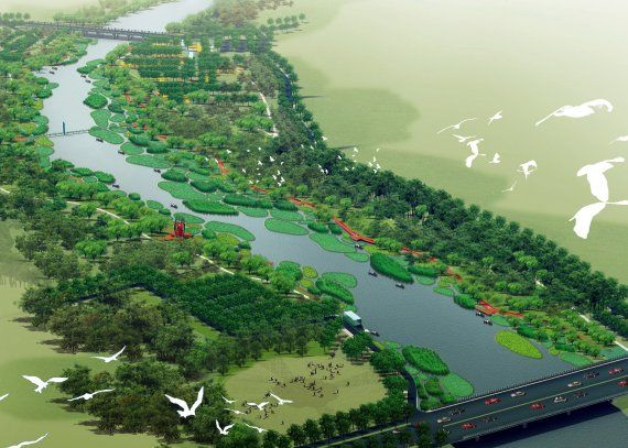 Red Ribbon In Tanghe River Park Contemporist