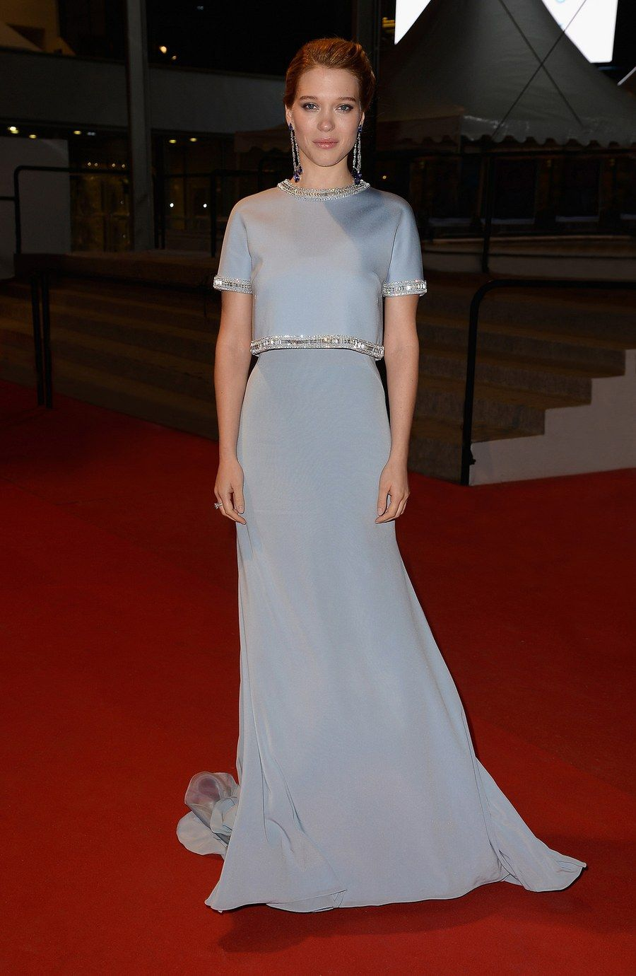 """Léa Seydoux looked timeless in Miu Miu at """"The Lobster"""" premiere. Courtesy of Prada"""