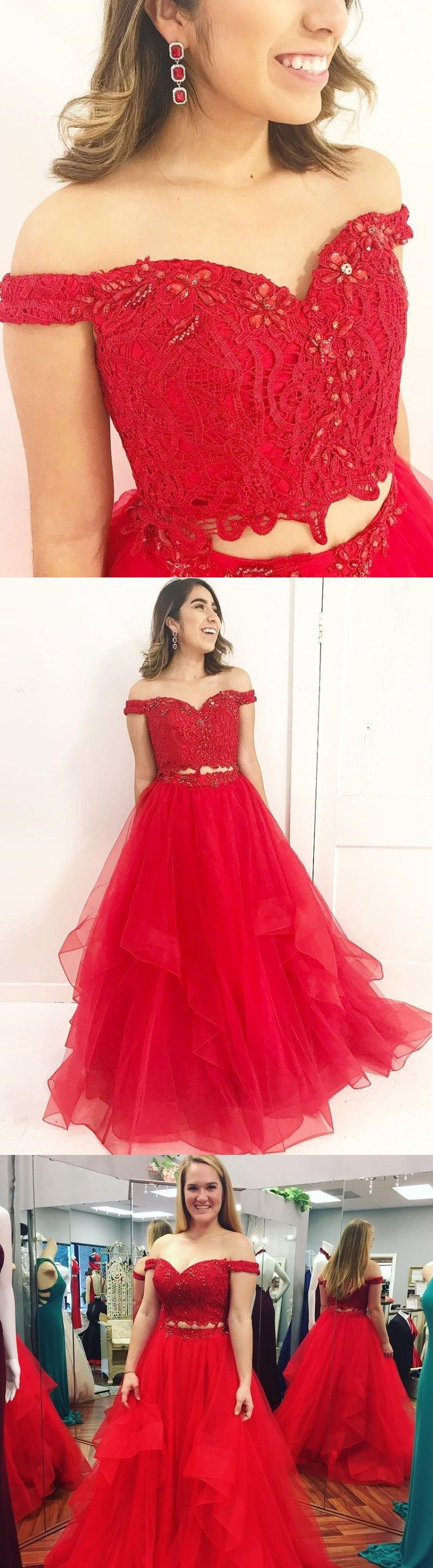Two piece prom dresses offtheshoulder a line long red prom dress