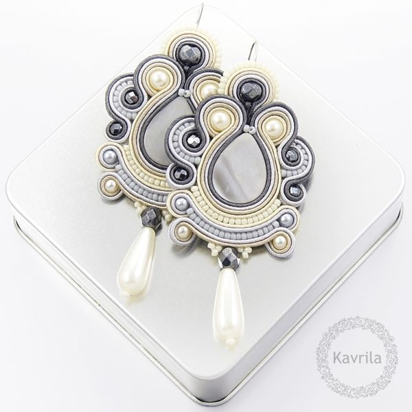 oriental grey soutache #soutache #sutasz #earrings #oriental #handmade #kavrila