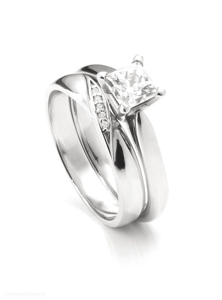 Ribbon twist diamond set wedding ring shown alongside Ivy R1D028